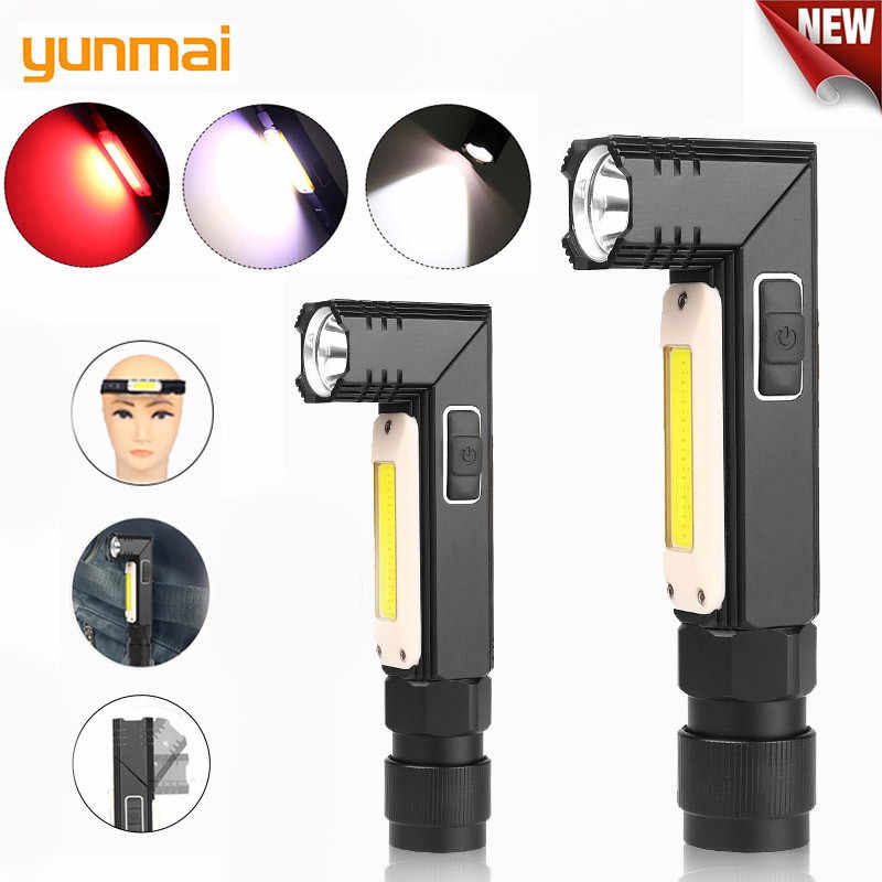 New 1000LM LED Flashlight Ultra Bright Waterproof COB Light USB Rechargeable Torch Tail  Magnet Work Light 90 Degrees Rotate