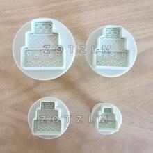 4 шт./партия 3D форма торта пластиковый набор резаков для печенья помадка Шоколадные фруктовые формы для пирожных Сделай Сам инструменты для украшения SLP019
