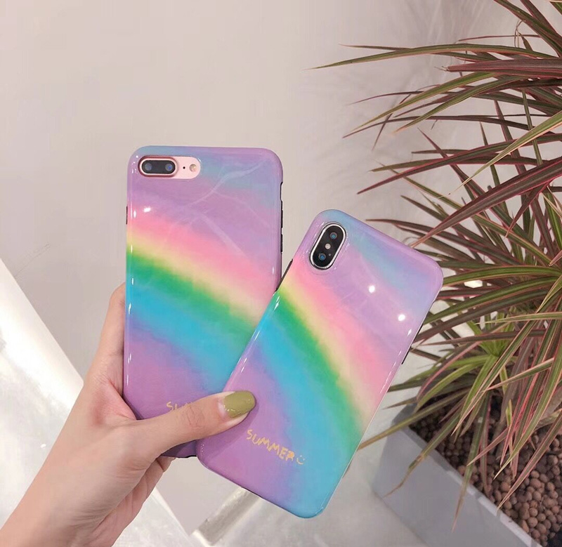 Mr.orange Summer Gradient Rainbow for Apple iphone X Mobile Shell iphone7plus/8/6s Soft  ...