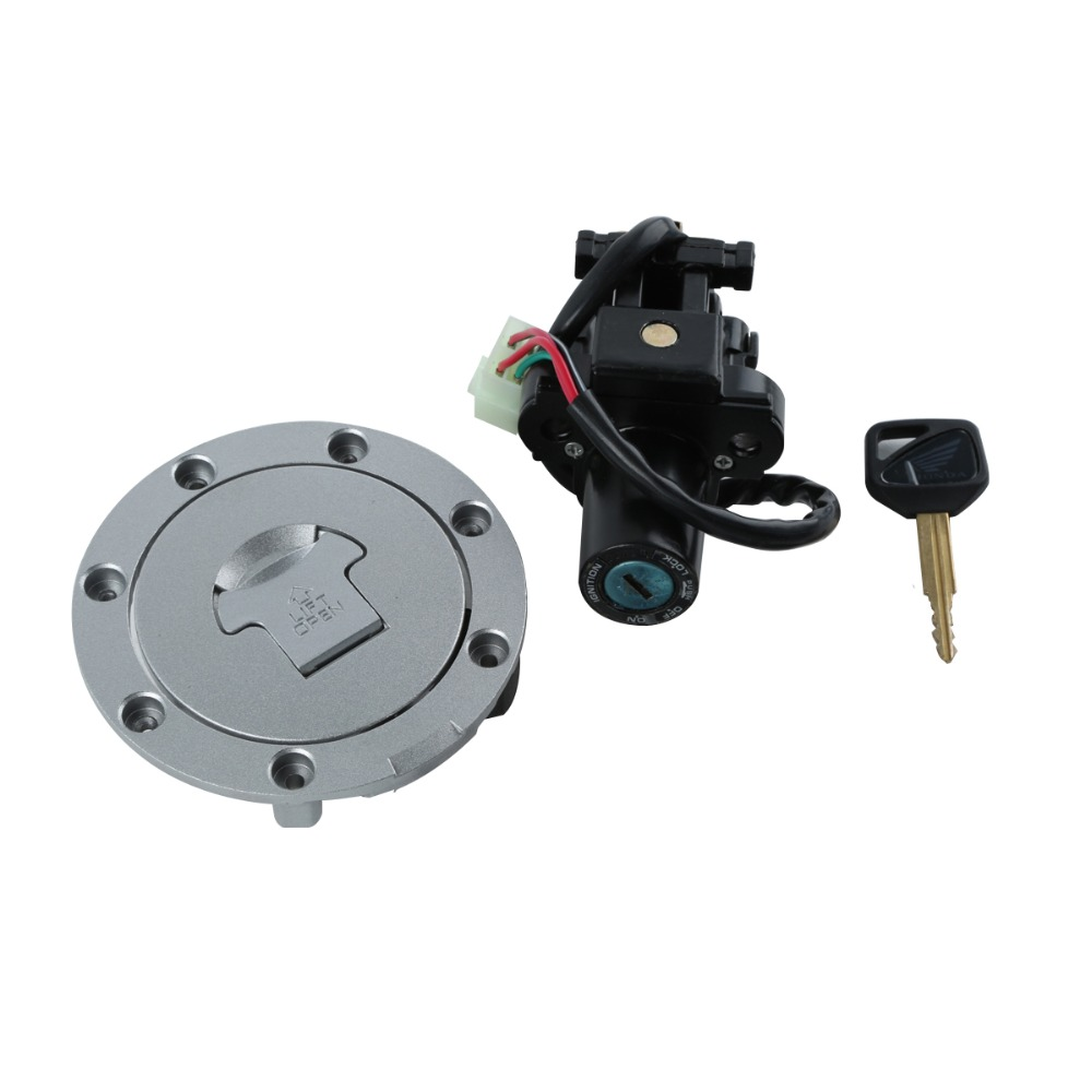 Motorcycle Metal Fuel Gas Tank Cap Cover Lock + Ignition Switch Lock Set For HONDA VFR800 03-08 VTR1000 01-05 CB400 VTEC 99-10