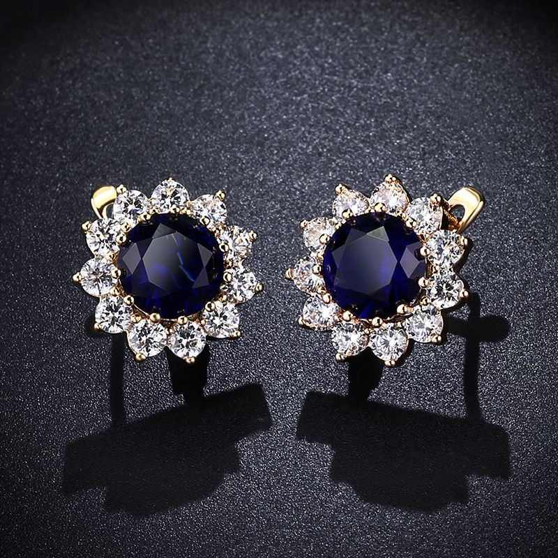 6d4640421 OCESRIO Luxury Crystal Flower Stud Earrings 585 Gold Royal Blue Paved  Austrian Cubic Zirconia Gold Jewelry