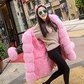 YOUMIGUE DHL Бесплатно Природный Настоящее Фокс Меховой Парки 2016 Зимняя Куртка женщины Настоящее Рекс Кролика Меховая Подкладка Куртки Женщины Куртка Army Green