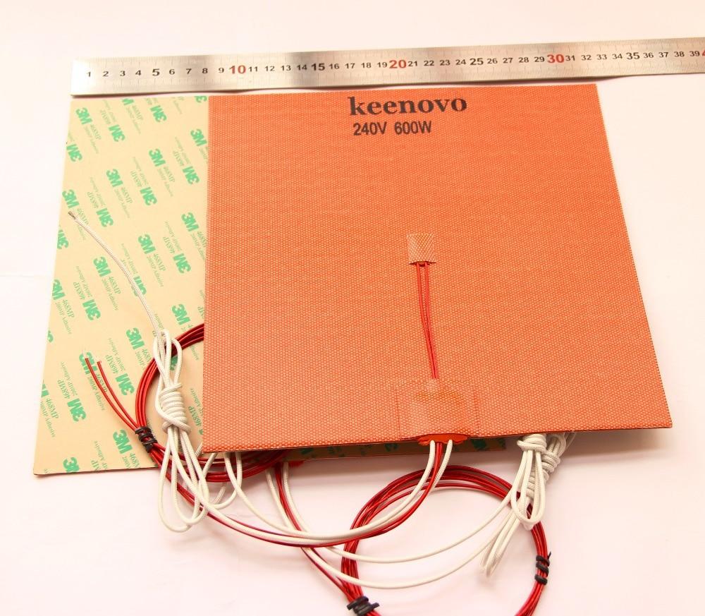240X240mm,600W@240V,w/ NTC 100K Thermistor,3M PSA Keenovo Silicone Heater 3D Printer Heatbed,First Grade Quality Guaranteed