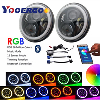 Auto Car 7 inch Round Headlight Kits For VW Beetle 1950 1979 W/ Bluetooth RGB DRL Halo Ring Hi/Low Beam DOT Approved