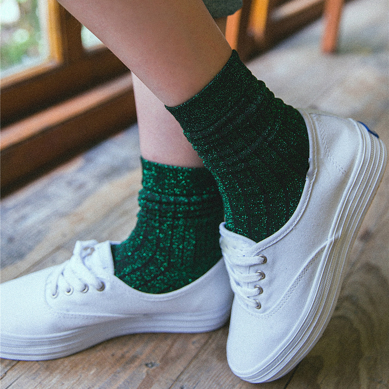 Latest Fashion Cool Shiny Silver Silk Women Socks Spring Autumn Trendy Bling Bling Glitter Socks Hot Sale Shine Sparkling Socks