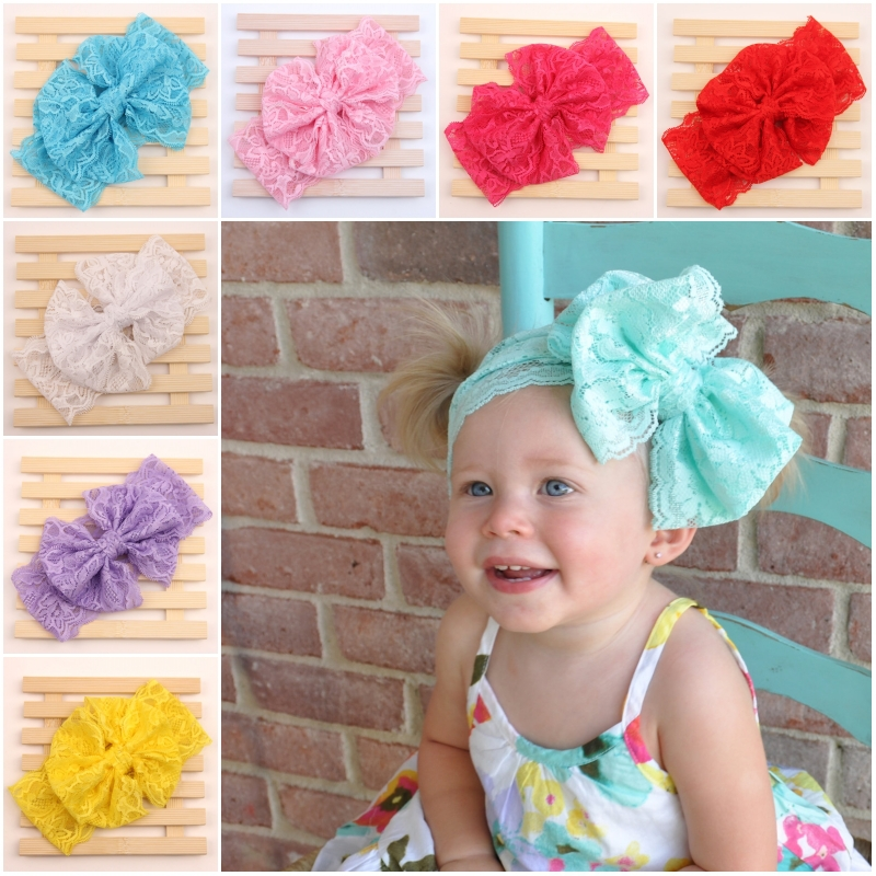Children Kids Baby Girls Lace Elastic Big Large Hair Bows