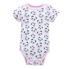 New Unisex Top Quality Baby Rompers Short Sleeve O-Neck Lovely Panda Polka Dot  for 0-9 Months Newborn Baby