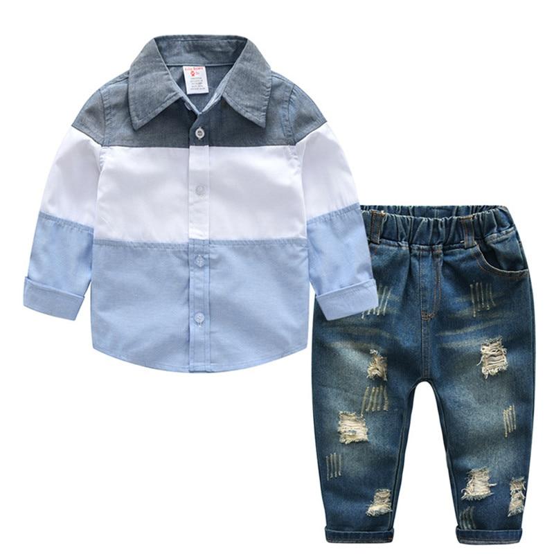 2018 Autumn Spring BOYS Clothing blouse+pants Set Cotton Children's Suit winter Baby Boy 2pcs Sets Kids top+jeans