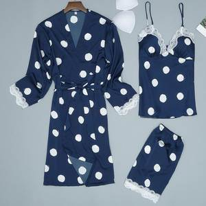 Fashion Women Sexy Satin Dot Print Pajamas Sleepwear Sling Robe Long Sleeve 3 Pieces Set ropa interior femenina sexy erotica