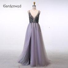 ce764f74d Gardenwed Sexy Luz Lila vestido Formal vestido largo 2019 Vintage profundo  cuello en V con reborde vestidos de noche para mujer .