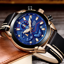 2019 LIGE Mens Watches Top Brand Luxury Chronograph Watch Men Casual Fashion Waterproof Leather Quartz Clock Relogio Masculino