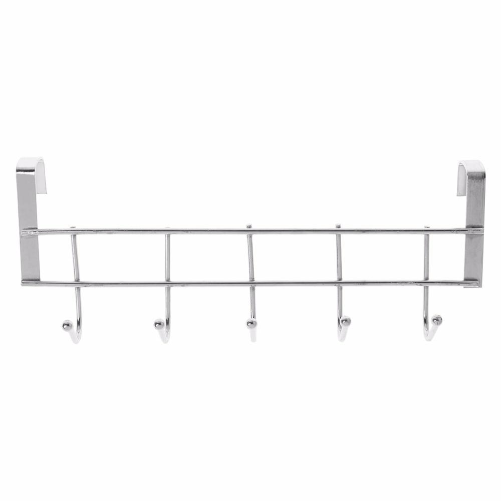 5 Hooks Over Door Clothing Hanger Rack Cabinet Door Loop Holder Shelf For Home Bathroom Kitchen