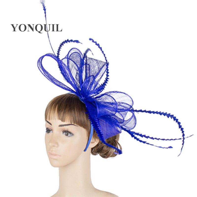 Элегантные головные уборы sinamay, Свадебные шляпы для невесты, высококачественные Коктейльные головные уборы, вечерние головные уборы, несколько цветов - Цвет: Синий