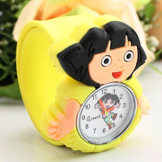 2018 New Beautiful Cute Girl Dora Pattern Student Birthday Gift Silicone Hot Cake Watch Cartoon Q Version Of Children Pat Table