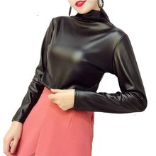 Turtleneck Plus Size Blusa Feminina PU 4XL Oversize Blouses Long Sleeve Thicken Blouse Office Lady Womens Tops And Blouses