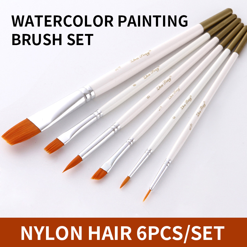 6Pcs/set Water Color Nylon Hair Painting Brush Different Size Short Handle Watercolor Oil Acrylic Paint Brush Pen Art Supplies