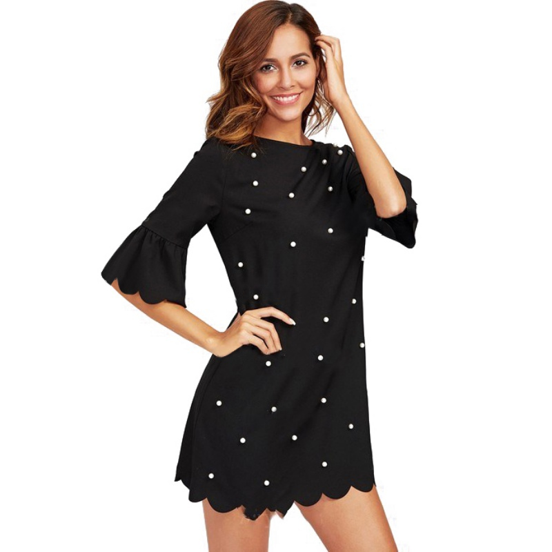 Women Summer Fashion O-neck Dress Black Pearl Beading Decorate Half Sleeve Dresses 2XL