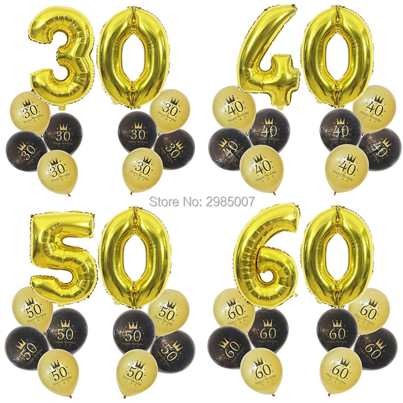 30th Birthday Balloon 40 50 60 70 80 Years Party Decorations Number 30 Adult Gold Black Ballons