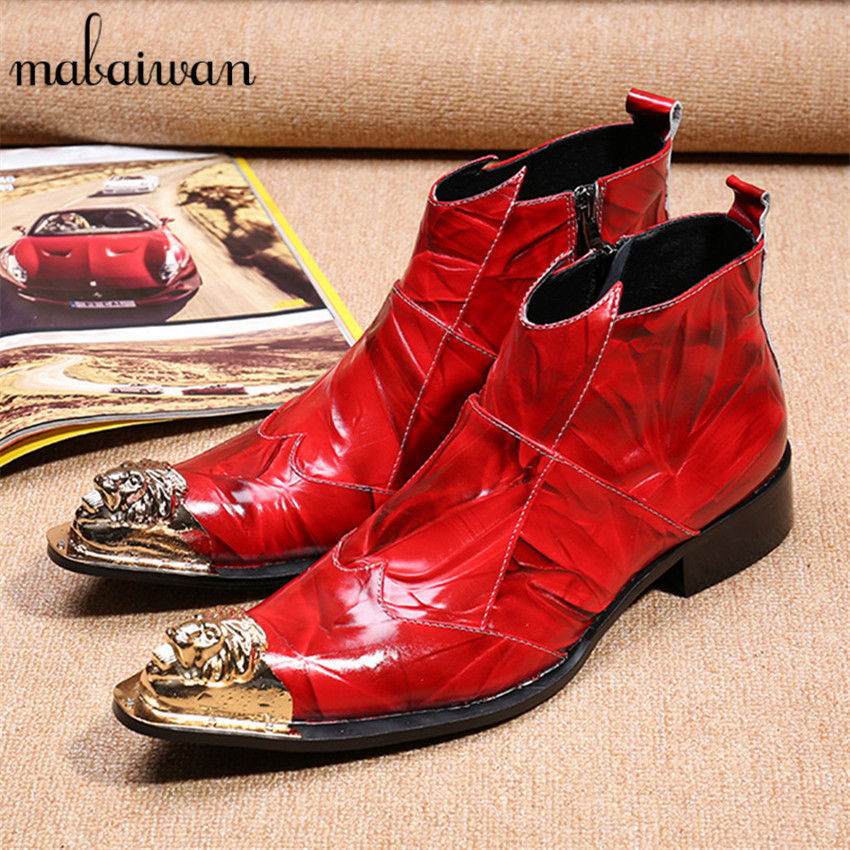 Fashion Red Men Genuine Leather Ankle Boots Metal Pointed Toe Mens Wedding Dress Shoes Side Zipper Botas Hombre Cowboy Boots цепочка на ногу loulan inn jl1048