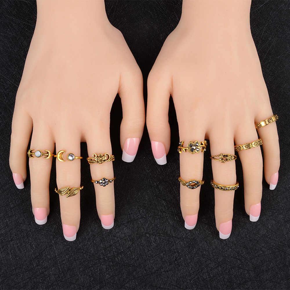 11 Pcs/set Wanita Cincin Bohemian Vintage Perak Tumpukan Cincin Perhiasan Aksesoris Menakjubkan Anillos Di Atas Knuckle Cincin Biru Set Aneis