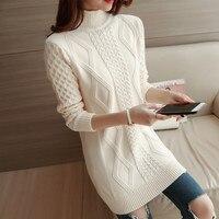 2018 Autumn Winter Warm Women Pullover Sweaters Turtleneck Long Sleeve Twisted Flower Long Knitwear Sueter Mujer
