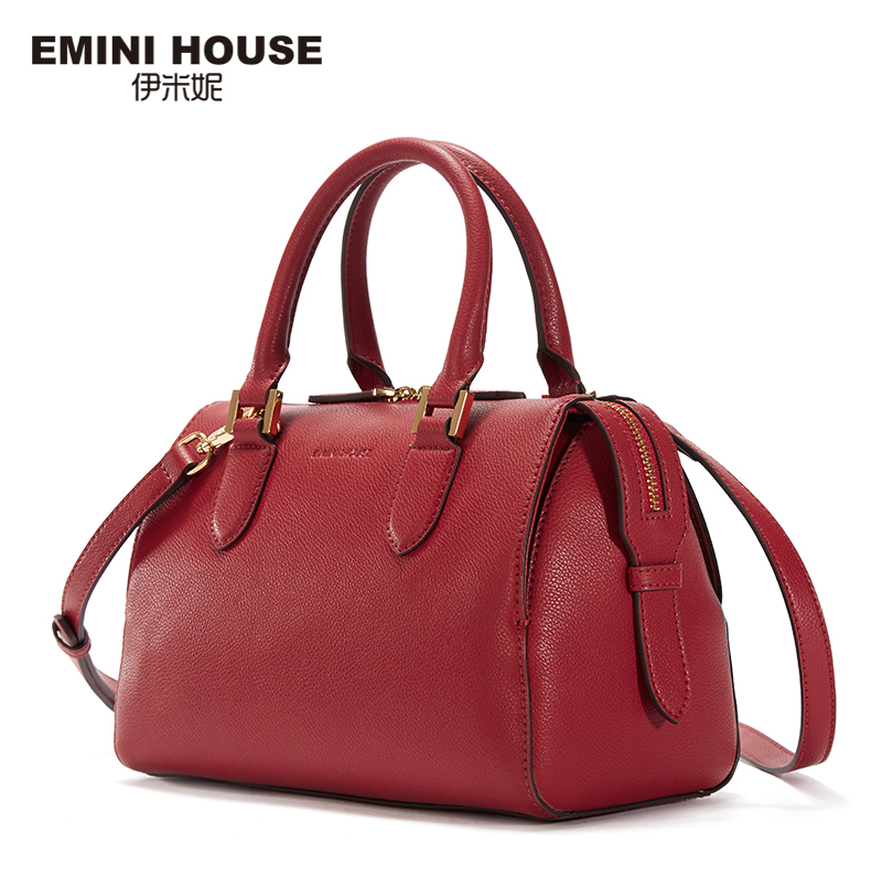 EMINI HOUSE Retro Style Boston Bag Split Leather Women Messenger Bag Luxury Handbags Women Bags Designer Shoulder Bags 3 Colors