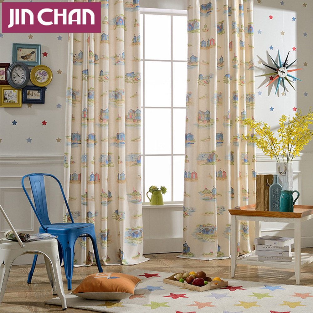 Kids modern bedroom curtains - Modern Cartoon House Blackout Window Curtains Drapes Shades For Living Room Bedroom For Kids Grommet