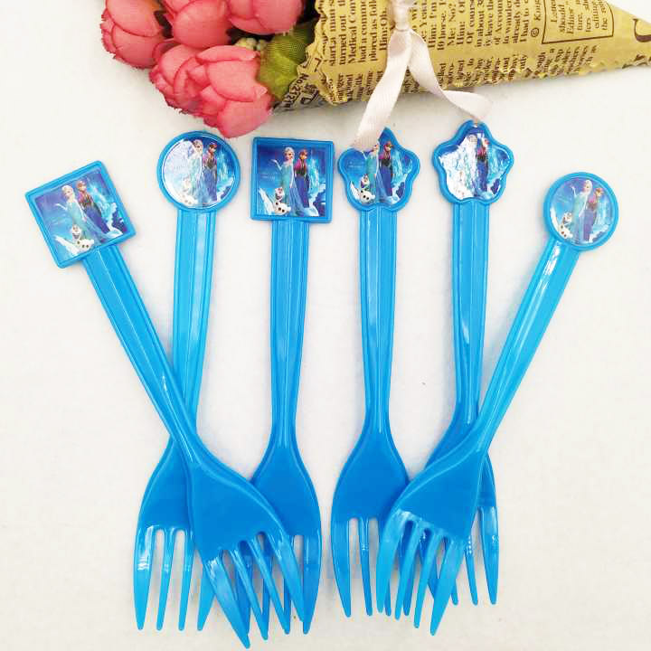 10pcs set Frozen Anna And Elsa Princess Party Supplies Forks Birthday Christmas Festive Girl Decoration Kids Party Favors in Disposable Party Tableware from Home Garden