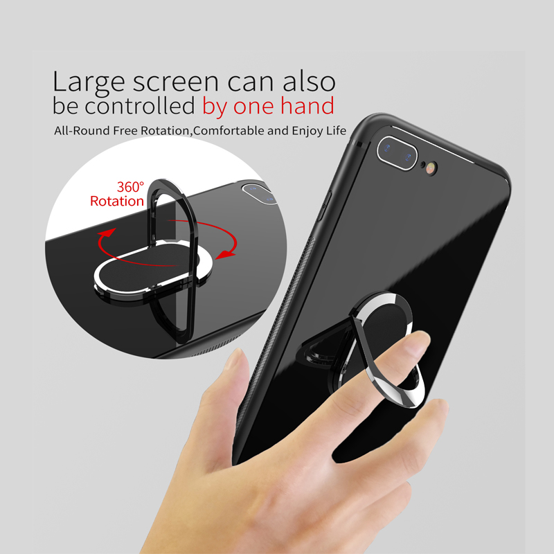 YILIZOMANA Thin Tempered Glass Phone Case Ring Holder Back Cover for iPhone 6 6S 7 8 Plus X Magnetic Car Ring Back Holder Cover in Half wrapped Cases from Cellphones Telecommunications