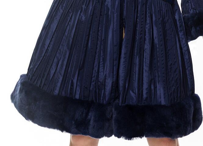 Vers Down Col Vestes Manteau Luxe Mode Capuche Nouveau Chaud Long Mince Le Sellve D'hiver Fourrure Femmes 2017 Femelle Bas De Blue Pq114 Avec Canard Taille qTPxC0qw
