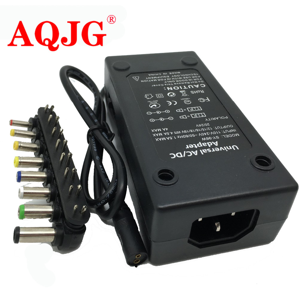 110-220 v AC Ke DC 12V / 15V / 16V / 18V / 19V / 20V / 24V Laptop Charger Adapter 96W Universal Laptop PC Netbook Power Supply Charger Hitam