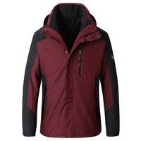 Большие размеры Брендовые куртки Для мужчин Повседневное военные Курточка бомбер Для мужчин модные простые морозостойких бурелом 2 шт. в 1 к