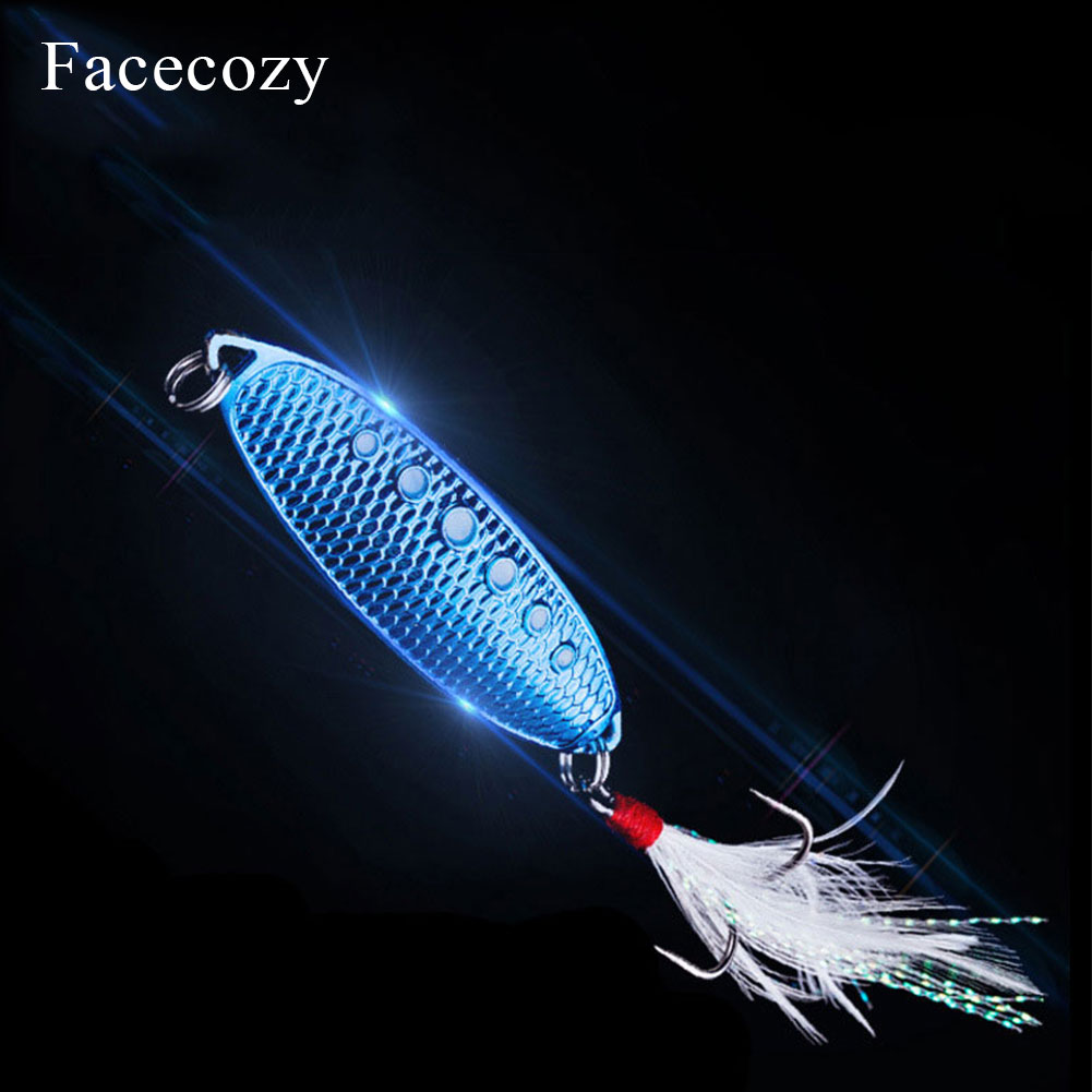 Facecozy Metal Bionic Leeches High Reflectivity Swimbait Dots Fish Scales Design 1Pc Tassel Tail Fishing Lures Artificial Bait-in Fishing Lures from Sports & Entertainment