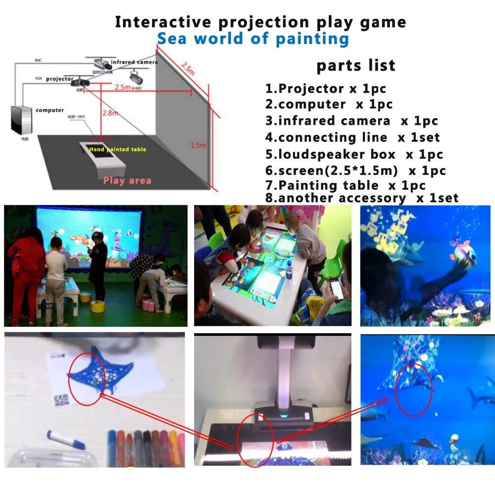 3D Интерактивная проекция игры морской мир живописи, детская игра Паззл
