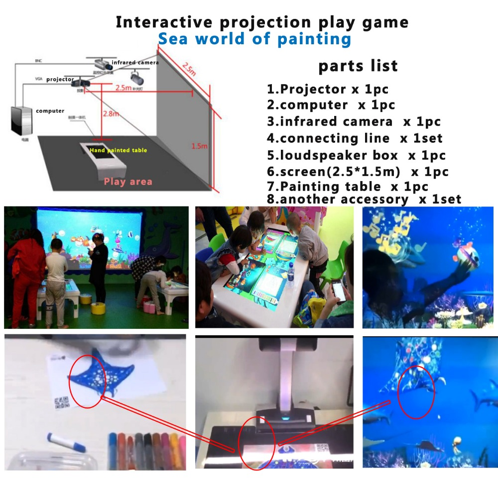 3D interactive projection play games sea world of painting,kids Puzzle Game