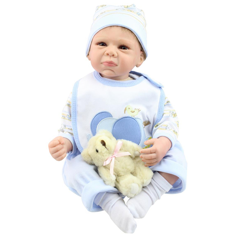 European Fashion Silicone Reborn Baby Doll with Clothes,18 Vivid Newborn Doll Toys for Children Christmas Gift free shipping promotion 10pcs lot 100ml pet clear bottle 100ml flat lotion bottles sprayer bottles 100ml