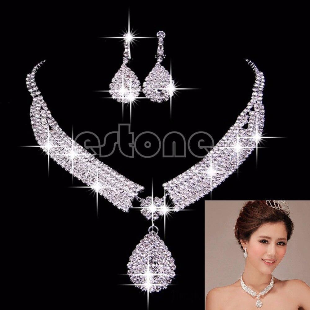 Women Luxury Wedding Prom Bridal Jewelry Sets African Beads Rhinestone Wedding Necklace Earrings Bracelet Sets Accessories-p101