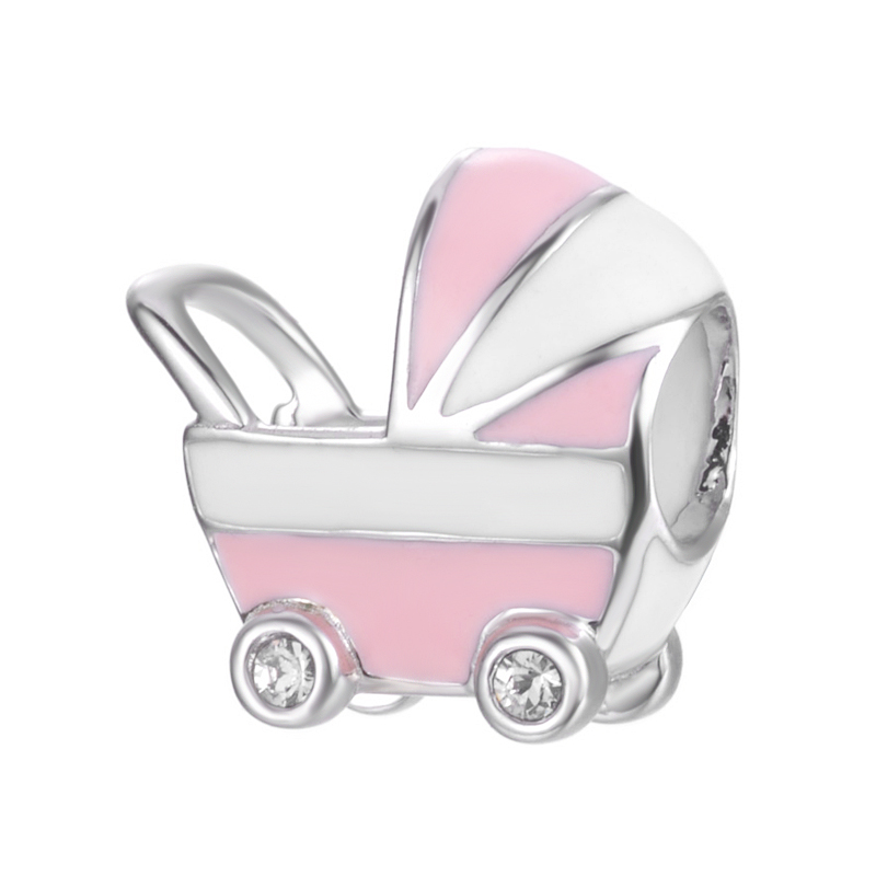 Top Quality Baby stroller Design Handmade Enamel Pink And White Color For Bracelet Or Necklace S925 Sterling Silver Charm
