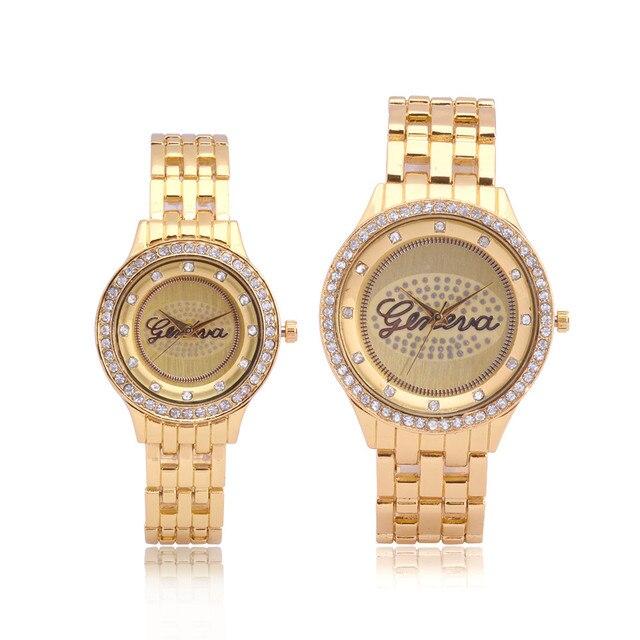 Watches Couple Fashion Stainless Steel Band Analog Quartz Round Wrist Watch Ladi