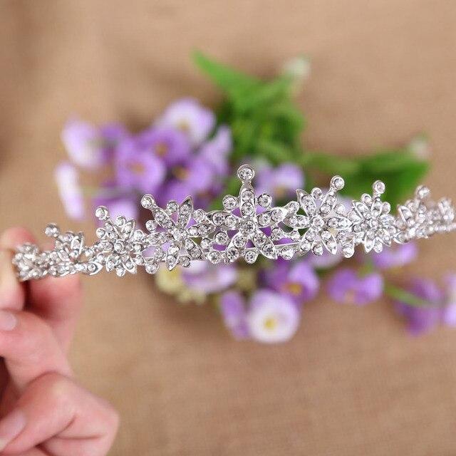 Baroque Rose or argent couleur cristal étincelant mariée diadème couronne femmes cheveux ornements de mariage mariée cheveux bijoux accessoires