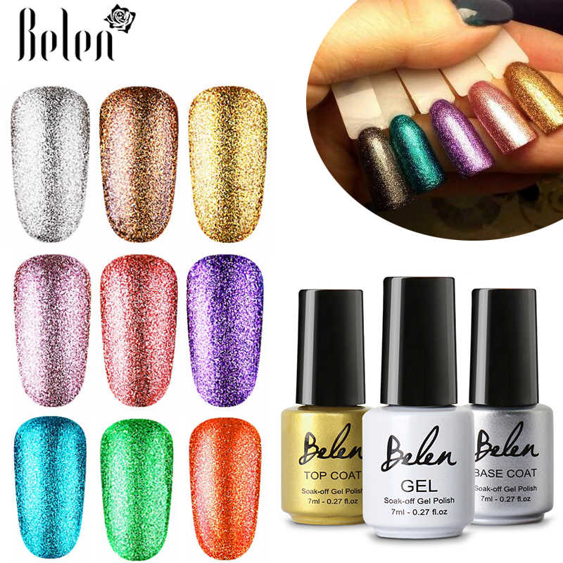 Belen 7 Ml Bling Warna Murni Uv Gel Nail Polish Glitter Semi Permanen Platinum Beruntung Pernis Primer Base Top Lacquer manikur