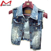 Women Denim Vest Casual Vintage Jacket 2016 Waistcoat Autumn Summer Sleeveless Jean Vest Women Vintage Single