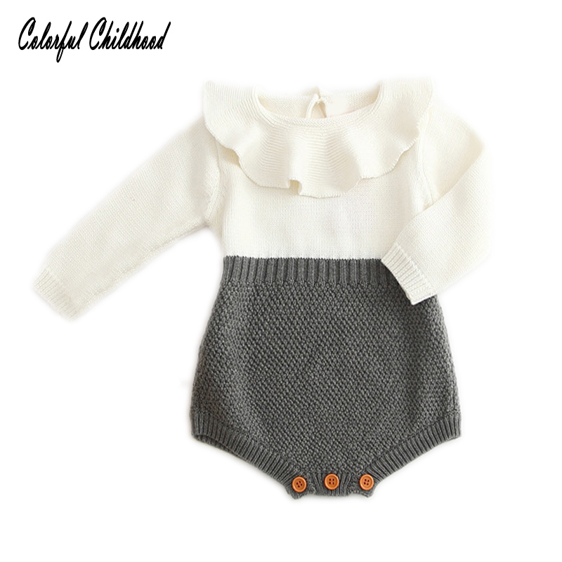 Pasgeboren rompertjes Toddler Girls lange mouw gebreide jumpsuits wit - Babykleding