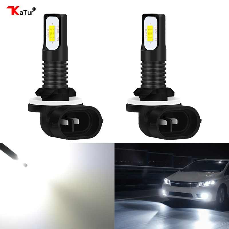 Katur 2pcs H27 881 Super Led Bulb Cars H27W/2 H27W2 Auto Fog Light 1200Lm 12V LED Bulbs Driving Driving Running Light For Kia