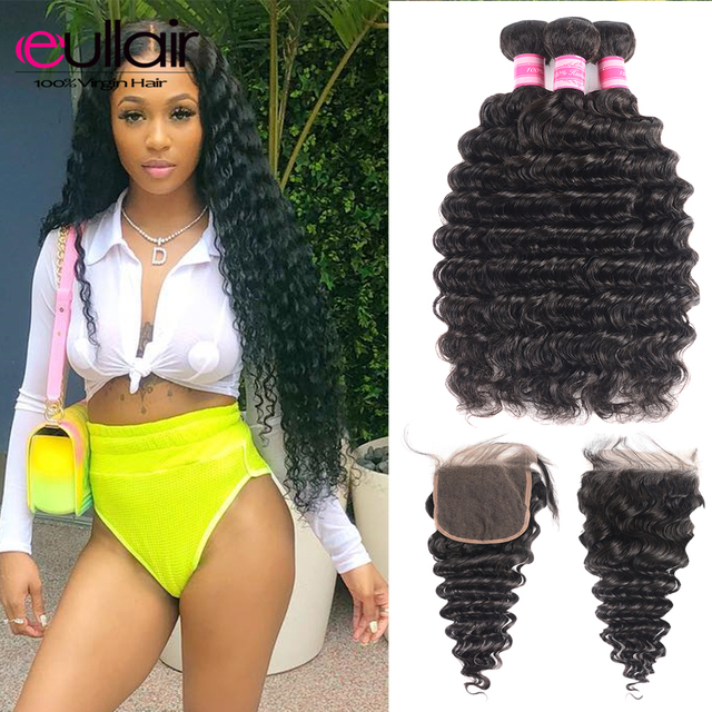 Deep Wave Human Hair Bundles With Closure 4Pcs/Lot eullair Brazilian Hair Weave Bundles with Closure 4*4 Lace with Remy Hair