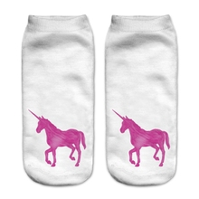 Women Hosiery Cute Girls Socks Pink Ankle Socks Calcetines Mujer Casual Hosiery Pink Unicorn Printed Sock