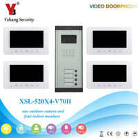 YobangSecurity 7 дюймов HD Цвет кабель видео домофон Ночное видение и Водонепроницаемый дизайн видео звонок 1 Камера 4 монитора.