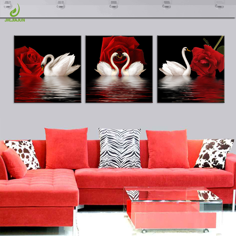 JHLJIAJUN 3PCS Rose Swan Pictures Oil Canvas Painting Poster Living - Home Decor