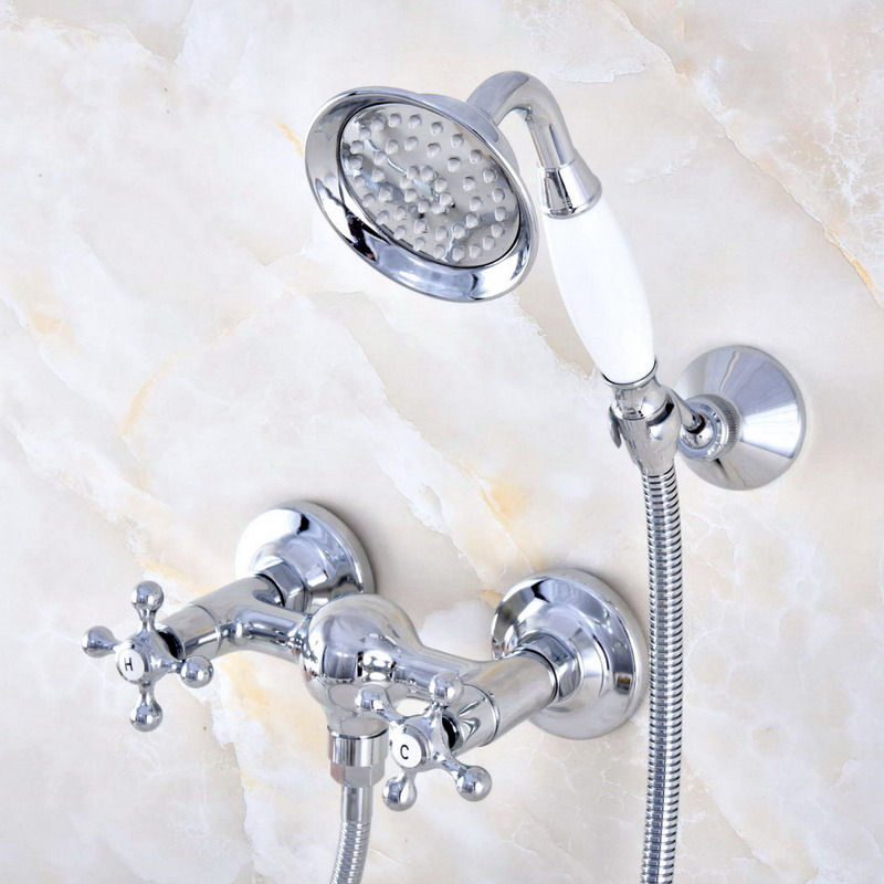 Wall Mount Polished Chrome Brass Bathroom Two Cross Handles Hand Shower Faucet Mixer Tap Set Telephone
