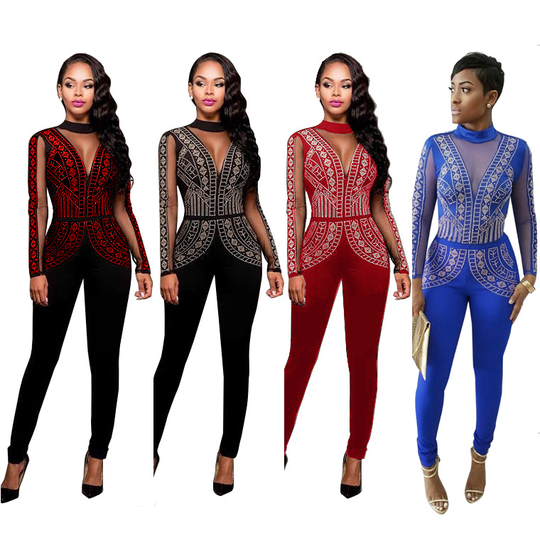 78bc19e15e4 Misstyle Plus Size Sexy Nightclub Womens Long Sleeve Slim Jumpsuits ...